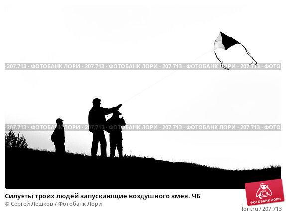 Силуэты троих людей запускающие воздушного змея. ЧБ, фото № 207713, снято 12 мая 2007 г. (c) Сергей Лешков / Фотобанк Лори