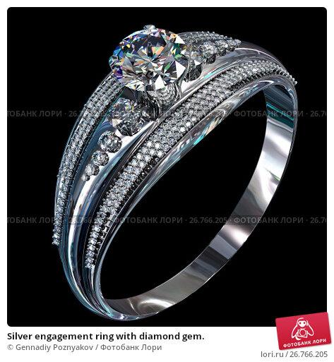 Купить «Silver engagement ring with diamond gem.», иллюстрация № 26766205 (c) Gennadiy Poznyakov / Фотобанк Лори