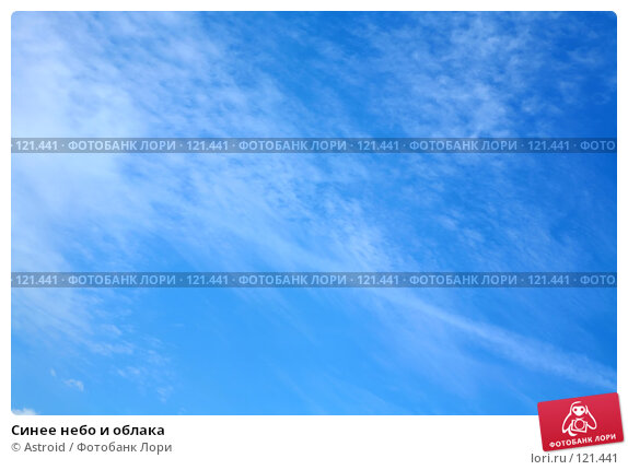 Купить «Синее небо и облака», фото № 121441, снято 1 августа 2007 г. (c) Astroid / Фотобанк Лори
