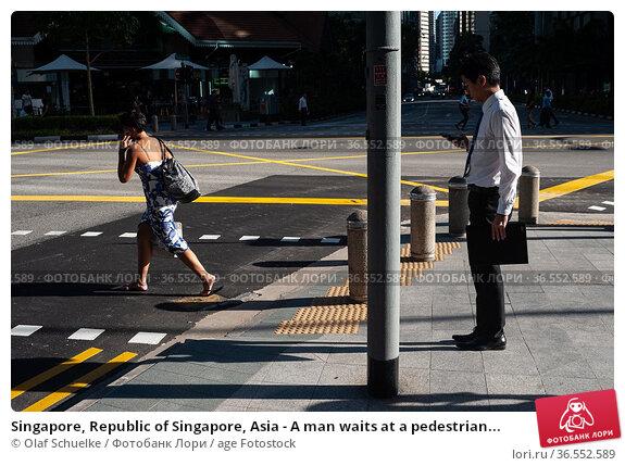 Singapore, Republic of Singapore, Asia - A man waits at a pedestrian... Редакционное фото, фотограф Olaf Schuelke / age Fotostock / Фотобанк Лори