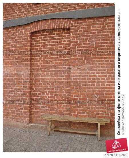 Скамейка на фоне стены из красного кирпича с заложенным дверным проёмом, фото № 316285, снято 31 мая 2008 г. (c) Морковкин Терентий / Фотобанк Лори
