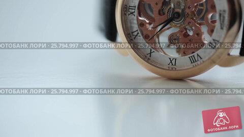 Купить «Skeleton watch white background», видеоролик № 25794997, снято 10 марта 2016 г. (c) Алексей Макаров / Фотобанк Лори