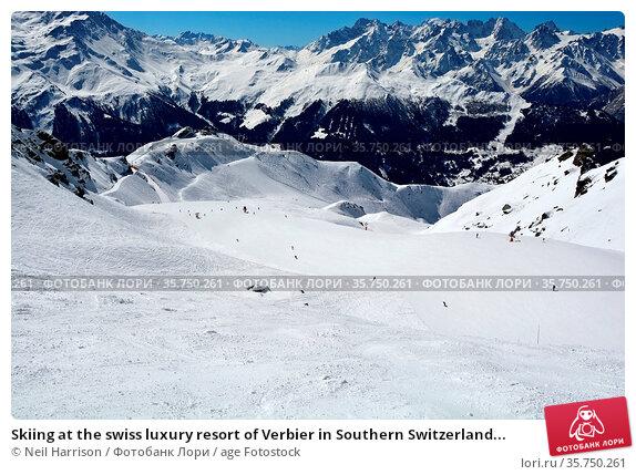 Skiing at the swiss luxury resort of Verbier in Southern Switzerland... Стоковое фото, фотограф Neil Harrison / age Fotostock / Фотобанк Лори