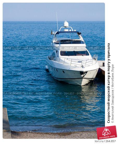 Скоростной морской катер в порту у причала, фото № 264857, снято 2 июня 2007 г. (c) Анатолий Заводсков / Фотобанк Лори