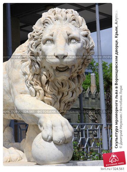 Скульптура мраморного льва в Воронцовском дворце. Крым, Алупка., эксклюзивное фото № 324561, снято 29 апреля 2008 г. (c) Дмитрий Неумоин / Фотобанк Лори