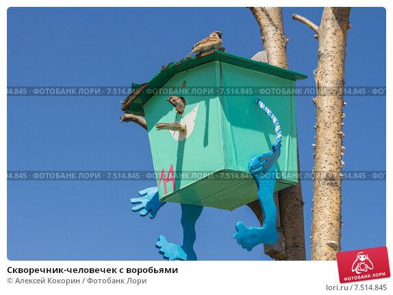 Купить «Скворечник-человечек с воробьями», фото № 7514845, снято 22 мая 2015 г. (c) Алексей Кокорин / Фотобанк Лори