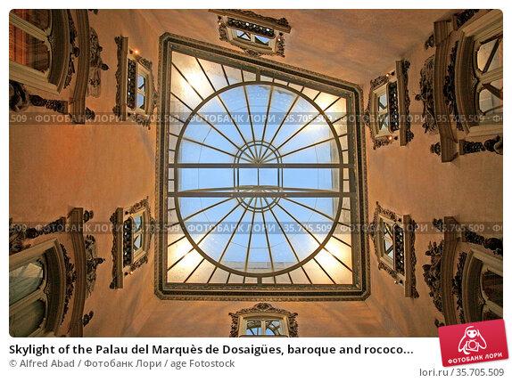Skylight of the Palau del Marquès de Dosaigües, baroque and rococo... Стоковое фото, фотограф Alfred Abad / age Fotostock / Фотобанк Лори