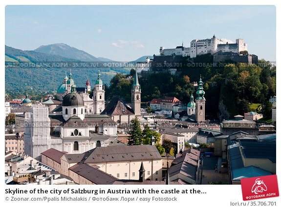 Skyline of the city of Salzburg in Austria with the castle at the... Стоковое фото, фотограф Zoonar.com/Ppalis Michalakis / easy Fotostock / Фотобанк Лори