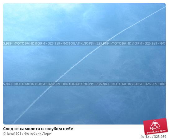 След от самолета в голубом небе, эксклюзивное фото № 325989, снято 9 июня 2008 г. (c) lana1501 / Фотобанк Лори
