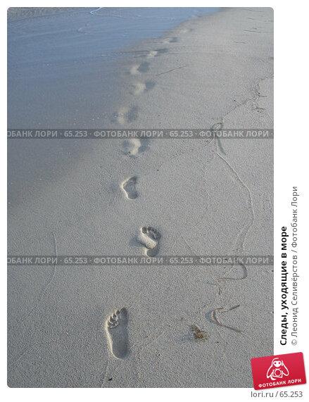 Купить «Следы, уходящие в море», фото № 65253, снято 21 июля 2007 г. (c) Леонид Селивёрстов / Фотобанк Лори