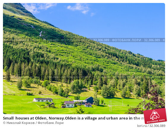 Купить «Small  houses at Olden, Norway.Olden is a village and urban area in the municipality of Stryn in Sogn og Fjordane county, Norway.», фото № 32306089, снято 20 ноября 2019 г. (c) Николай Коржов / Фотобанк Лори