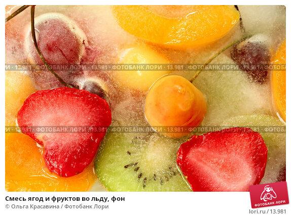 Смесь ягод и фруктов во льду, фон, фото № 13981, снято 21 октября 2006 г. (c) Ольга Красавина / Фотобанк Лори
