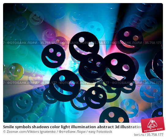Smile symbols shadows color light illumination abstract 3d illustration... Стоковое фото, фотограф Zoonar.com/Viktors Ignatenko / easy Fotostock / Фотобанк Лори