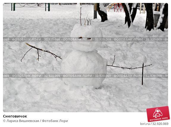 Купить «Снеговичок», фото № 32920069, снято 11 января 2020 г. (c) Лариса Вишневская / Фотобанк Лори