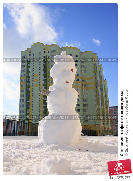 Снеговик на фоне нового дома, эксклюзивное фото № 273737, снято 3 февраля 2008 г. (c) Дмитрий Неумоин / Фотобанк Лори