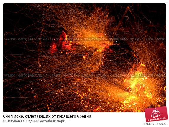 Купить «Сноп искр, отлетающих от горящего бревна», фото № 177309, снято 15 августа 2007 г. (c) Петухов Геннадий / Фотобанк Лори