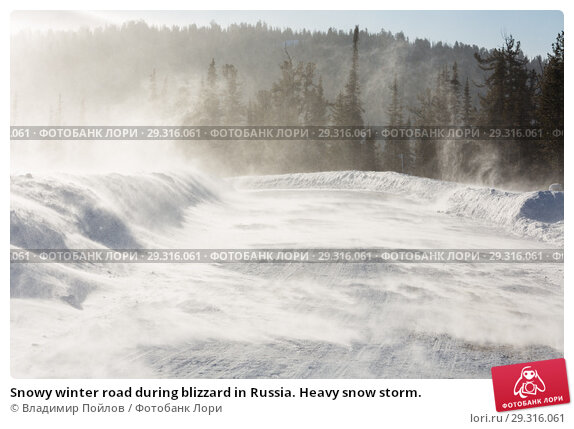 Купить «Snowy winter road during blizzard in Russia. Heavy snow storm.», фото № 29316061, снято 8 ноября 2018 г. (c) Владимир Пойлов / Фотобанк Лори