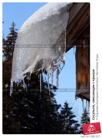 Купить «Сосульки, свисающие с крыши», фото № 205317, снято 5 февраля 2008 г. (c) Карасева Екатерина Олеговна / Фотобанк Лори