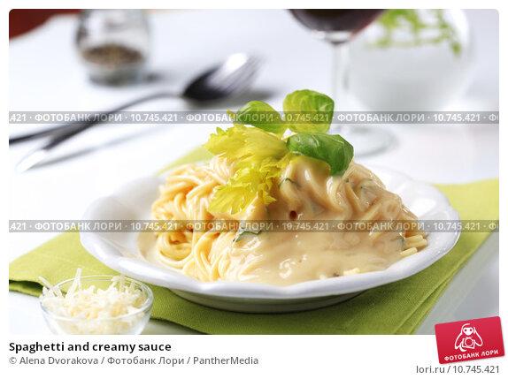 Купить «Spaghetti and creamy sauce», фото № 10745421, снято 22 апреля 2019 г. (c) PantherMedia / Фотобанк Лори