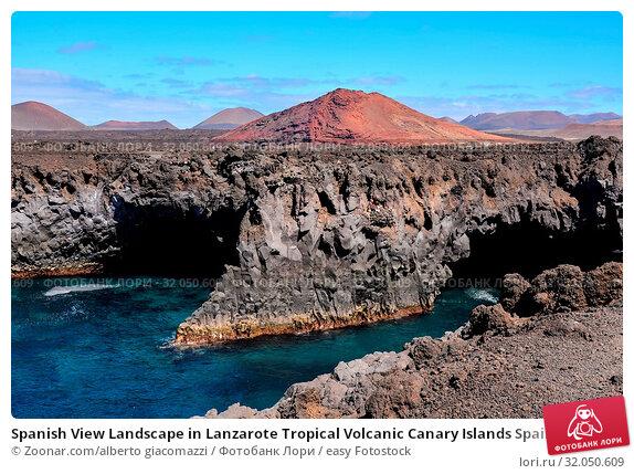 Spanish View Landscape in Lanzarote Tropical Volcanic Canary Islands Spain. Стоковое фото, фотограф Zoonar.com/alberto giacomazzi / easy Fotostock / Фотобанк Лори