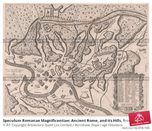 Купить «Speculum Romanae Magnificentiae: Ancient Rome, and its Hills, from the West, 1582, Etching, sheet: 17 15/16 x 21 7/16 in. (45.5 x 54.4 cm), Prints, Giovanni...», фото № 32018145, снято 27 апреля 2017 г. (c) age Fotostock / Фотобанк Лори