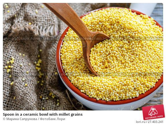 Купить «Spoon in a ceramic bowl with millet grains», фото № 27403241, снято 18 января 2017 г. (c) Марина Сапрунова / Фотобанк Лори