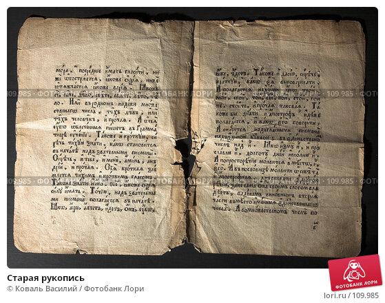 Купить «Старая рукопись», фото № 109985, снято 26 февраля 2007 г. (c) Коваль Василий / Фотобанк Лори