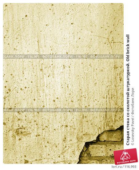Старая стена со сколотой штукатуркой. Old brick wall, фото № 116993, снято 6 марта 2006 г. (c) Losevsky Pavel / Фотобанк Лори