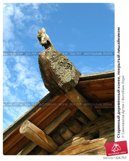 Старинный деревянный конек, покрытый лишайником, эксклюзивное фото № 324757, снято 22 июня 2017 г. (c) Самохвалов Артем / Фотобанк Лори