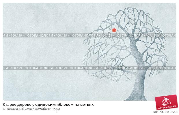 Старое дерево с одиноким яблоком на ветвях, иллюстрация № 100129 (c) Tamara Kulikova / Фотобанк Лори