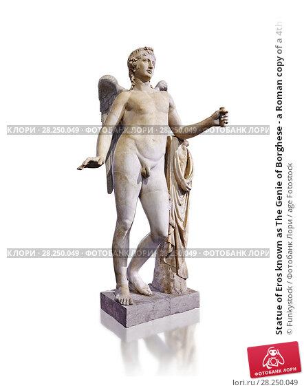 Купить «Statue of Eros known as The Genie of Borghese - a Roman copy of a 4th century BC Greek original from Rome, Monte Cavallo. The statue belonged to Domenico...», фото № 28250049, снято 1 апреля 2017 г. (c) age Fotostock / Фотобанк Лори