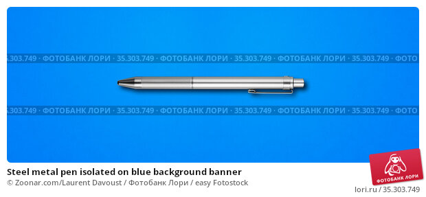 Steel metal pen isolated on blue background banner. Стоковое фото, фотограф Zoonar.com/Laurent Davoust / easy Fotostock / Фотобанк Лори