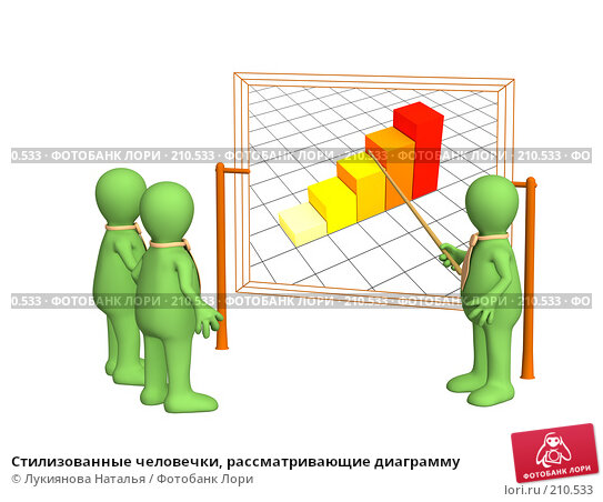 Стилизованные человечки, рассматривающие диаграмму, иллюстрация № 210533 (c) Лукиянова Наталья / Фотобанк Лори