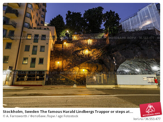 Stockholm, Sweden The famous Harald Lindbergs Trappor or steps at... Стоковое фото, фотограф A. Farnsworth / age Fotostock / Фотобанк Лори
