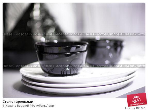 Стол с тарелками, фото № 186981, снято 20 января 2008 г. (c) Коваль Василий / Фотобанк Лори