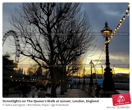 Streetlights on The Queen's Walk at sunset, London, England. Стоковое фото, фотограф Salva Garrigues / age Fotostock / Фотобанк Лори