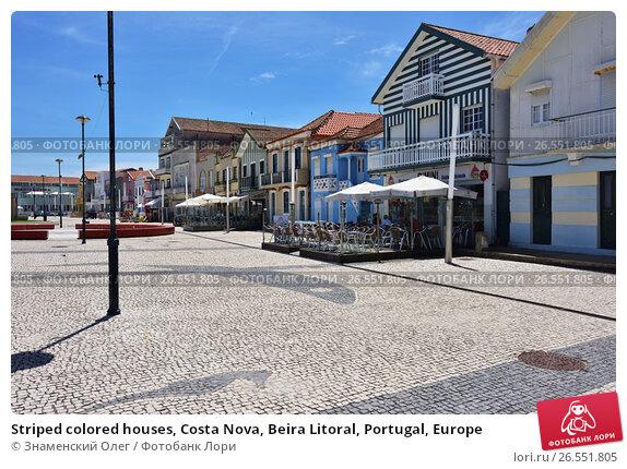 Striped colored houses, Costa Nova, Beira Litoral, Portugal, Europe, фото № 26551805, снято 9 июня 2017 г. (c) Знаменский Олег / Фотобанк Лори