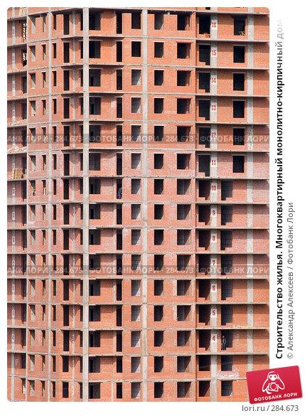 Строительство жилья. Многоквартирный монолитно-кирпичный дом, эксклюзивное фото № 284673, снято 14 мая 2008 г. (c) Александр Алексеев / Фотобанк Лори