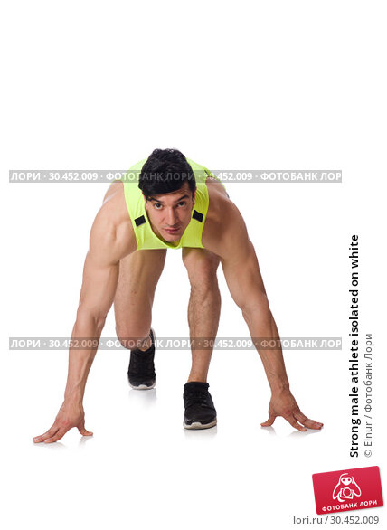 Strong male athlete isolated on white. Стоковое фото, фотограф Elnur / Фотобанк Лори
