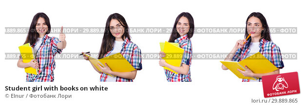 Купить «Student girl with books on white», фото № 29889865, снято 16 марта 2013 г. (c) Elnur / Фотобанк Лори