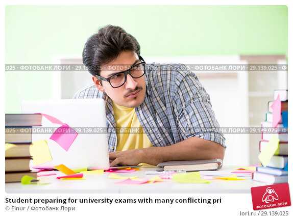 Купить «Student preparing for university exams with many conflicting pri», фото № 29139025, снято 18 мая 2018 г. (c) Elnur / Фотобанк Лори