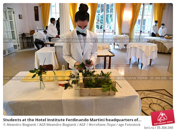 Students at the Hotel Institute Ferdinando Martini headquarters of... Редакционное фото, фотограф Aleandro Biagianti / AGF/Aleandro Biagianti / AGF / age Fotostock / Фотобанк Лори