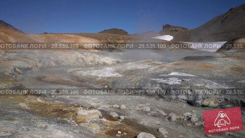 Купить «Stunning volcano landscape, hot springs surrounded by active fumaroles», видеоролик № 29539109, снято 26 сентября 2018 г. (c) А. А. Пирагис / Фотобанк Лори