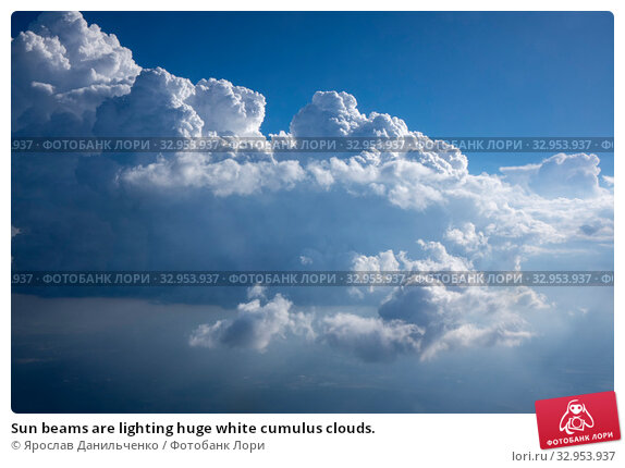 Sun beams are lighting huge white cumulus clouds. Стоковое фото, фотограф Ярослав Данильченко / Фотобанк Лори