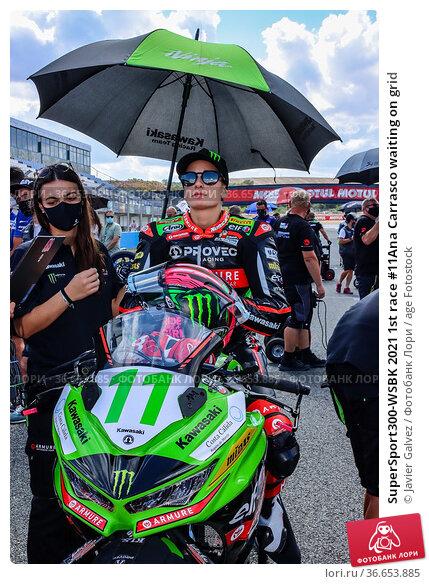 SuperSport300-WSBK 2021 1st race #11Ana Carrasco waiting on grid (2019 год). Редакционное фото, фотограф Javier Galvez / age Fotostock / Фотобанк Лори
