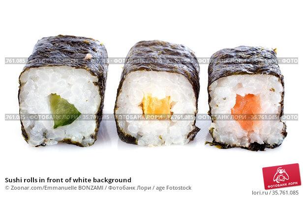 Sushi rolls in front of white background. Стоковое фото, фотограф Zoonar.com/Emmanuelle BONZAMI / age Fotostock / Фотобанк Лори