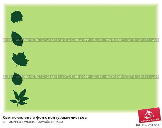 Светло-зеленый фон с контурами листьев, фото № 281541, снято 24 августа 2017 г. (c) Смыгина Татьяна / Фотобанк Лори