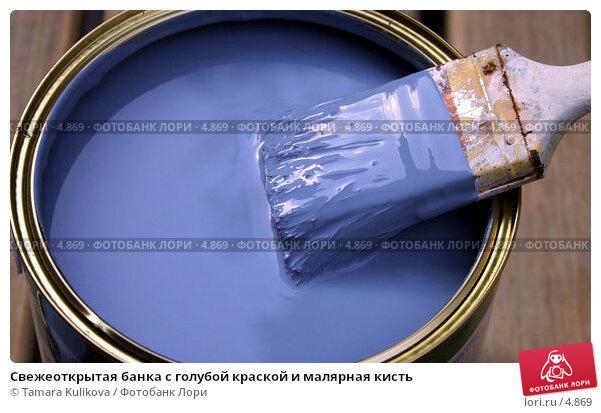 Свежеоткрытая банка с голубой краской и малярная кисть, фото № 4869, снято 20 июня 2006 г. (c) Tamara Kulikova / Фотобанк Лори
