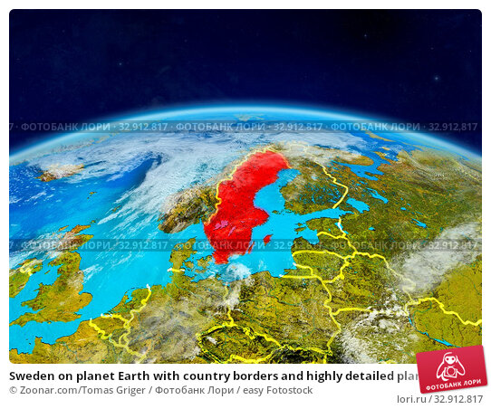 Sweden on planet Earth with country borders and highly detailed planet surface and clouds. 3D illustration. Elements of this image furnished by NASA. Стоковое фото, фотограф Zoonar.com/Tomas Griger / easy Fotostock / Фотобанк Лори