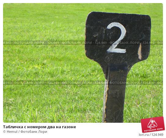 Купить «Табличка с номером два на газоне», фото № 124949, снято 4 марта 2007 г. (c) Hemul / Фотобанк Лори